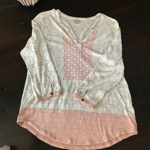 Lucky Brand Tunic Cream coral gray floral